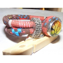 Bracelet pression dominante marron-rouge ethnique artisanal
