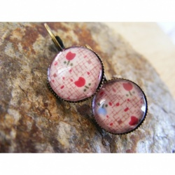 Boucles d'oreilles bronze dormeuse cabochon image digitale tulipes rouges
